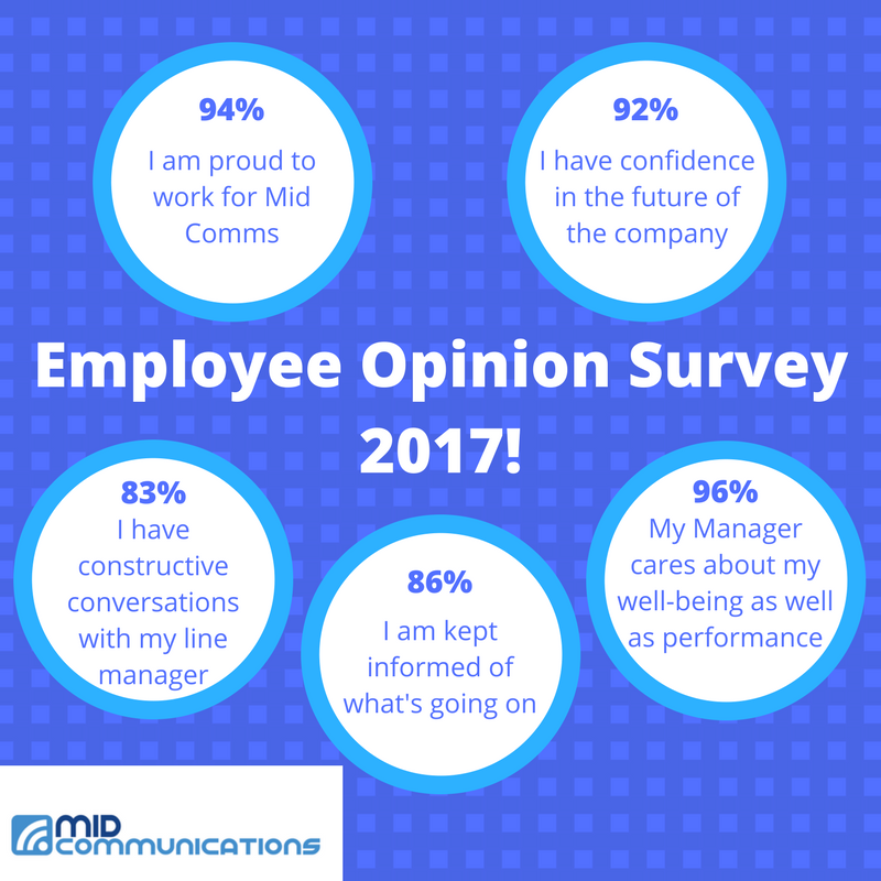 MID Comms Christmas Roadshow 2017, Employee Opinion Survey stats